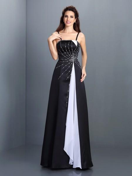Princesa/Formato A Alças Finas Sem Mangas Longa Chiffon Vestidos