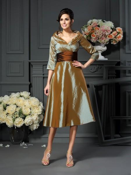 Princesa/Formato A Decote em V Luva de Comprimento de 3/4 Curtos Tafetá Vestidos Mãe da Noiva