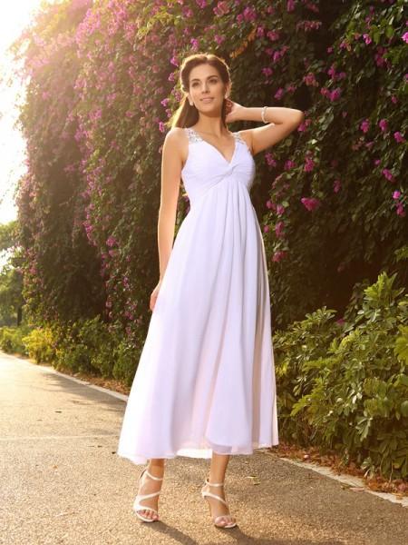 Princesa/Formato A Decote em V Missangas Sem Mangas Longa Chiffon Vestidos de Noiva