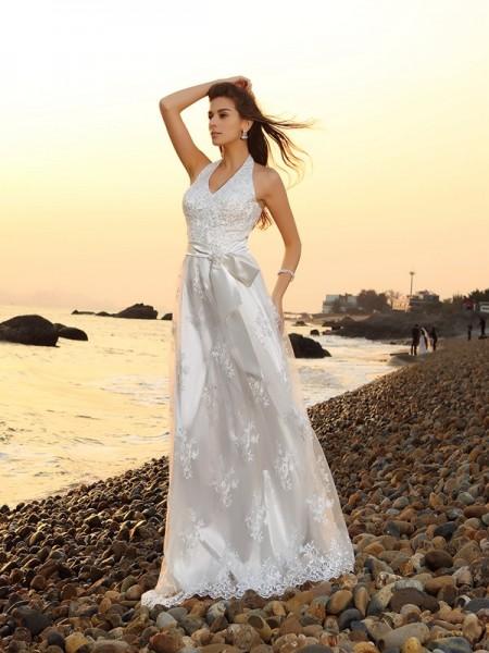 Princesa/Formato A Halter Cinturão/Fitas Sem Mangas Longa Renda Beach Vestidos de Noiva