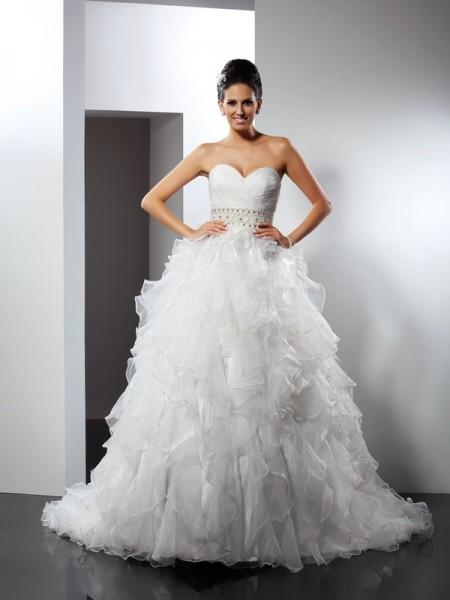 De Baile Coração Folhos Sem Mangas Longa Organza Vestidos de Noiva