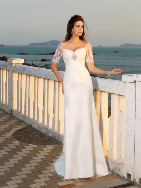 Bainha/Coluna Coração Appliques Manga Curta Longa Cetim Beach Vestidos de Noiva