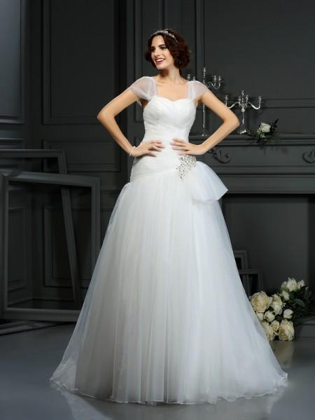 Princesa/Formato A Coração Missangas Sem Mangas Longa Organza Vestidos de Noiva