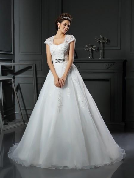 De Baile Square Missangas Sem Mangas Longa Organza Vestidos de Noiva
