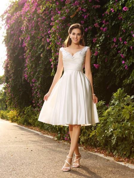 Princesa/Formato A Decote em V Missangas Sem Mangas Curtos Cetim Vestidos de Noiva