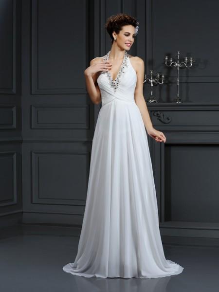 Princesa/Formato A Halter Missangas Sem Mangas Longa Chiffon Vestidos de Noiva