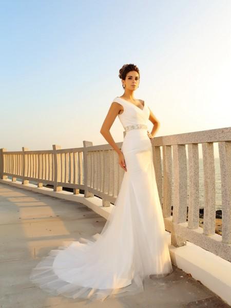 Bainha/Coluna Decote em V Plissada Sem Mangas Longa Malha Beach Vestidos de Noiva
