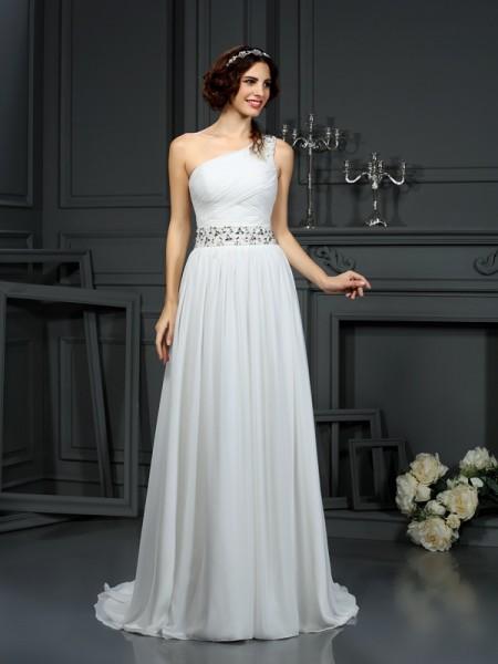 Princesa/Formato A Um Ombro Missangas Sem Mangas Longa Chiffon Vestidos de Noiva