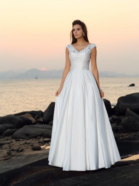 Princesa/Formato A Decote em V Missangas Sem Mangas Longa Tafetá Beach Vestidos de Noiva