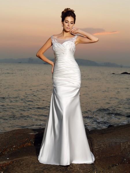 Trompete/Sereia Decote e costas em U Missangas Sem Mangas Longa Cetim Beach Vestidos de Noiva