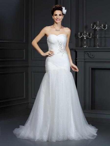 Bainha/Coluna Coração Missangas Sem Mangas Longa Malha Vestidos de Noiva