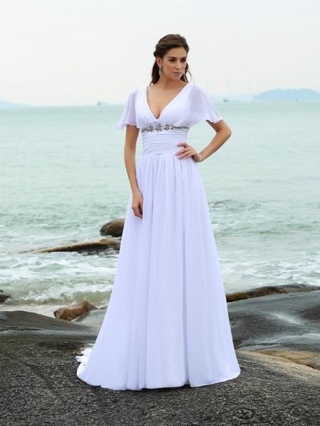 Princesa/Formato A Decote em V Folhos Manga Curta Longa Chiffon Beach Vestidos de Noiva