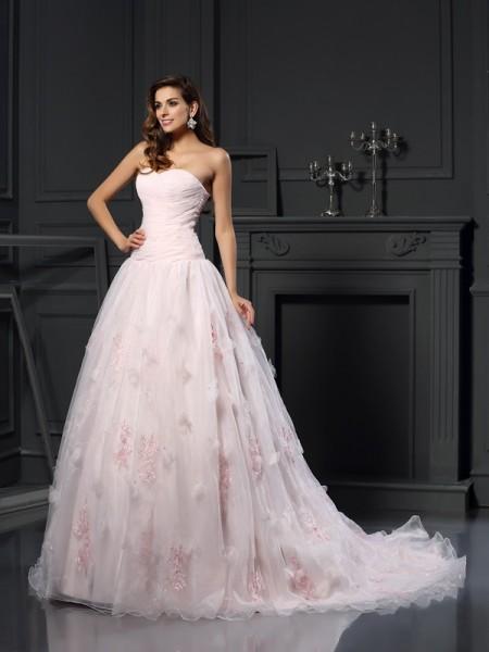 De Baile Coração Folhos Sem Mangas Longa Cetim Vestidos de Noiva