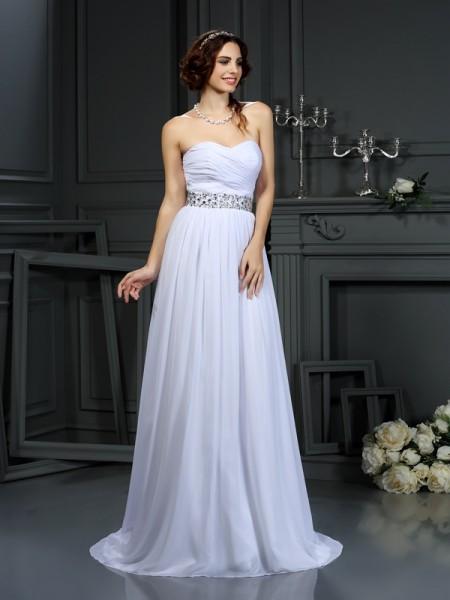 Princesa/Formato A Coração Missangas Sem Mangas Longa Chiffon Vestidos de Noiva