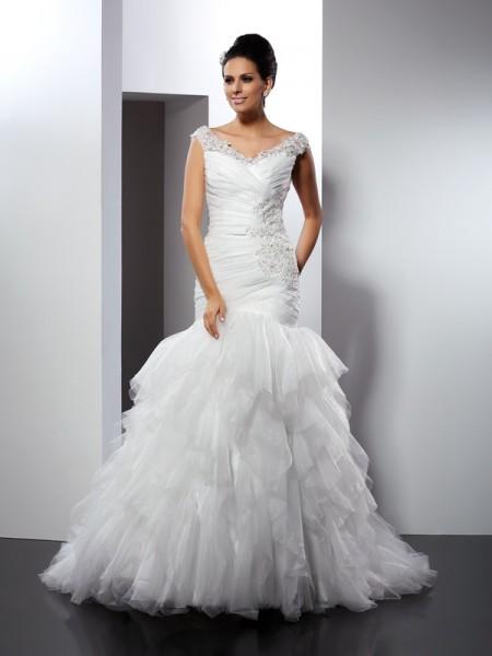 Trompete/Sereia Decote em V Appliques Sem Mangas Longa Tule Vestidos de Noiva