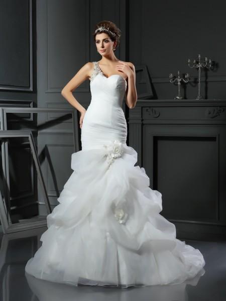 Trompete/Sereia Coração Folhos Sem Mangas Longa Cetim Vestidos de Noiva