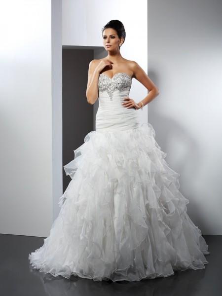 De Baile Coração Folhos Sem Mangas Longa Tule Vestidos de Noiva