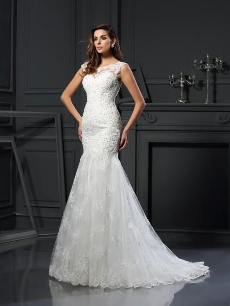 Trompete/Sereia Decote e costas em U Appliques Manga Curta Longa Tule Vestidos de Noiva