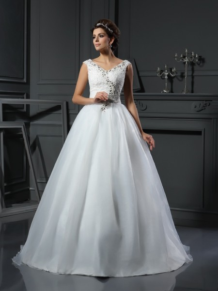 Princesa/Formato A Decote em V Missangas Sem Mangas Longa Organza Vestidos de Noiva