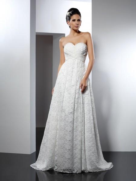 Princesa/Formato A Coração Sem Mangas Longa Cetim Vestidos de Noiva