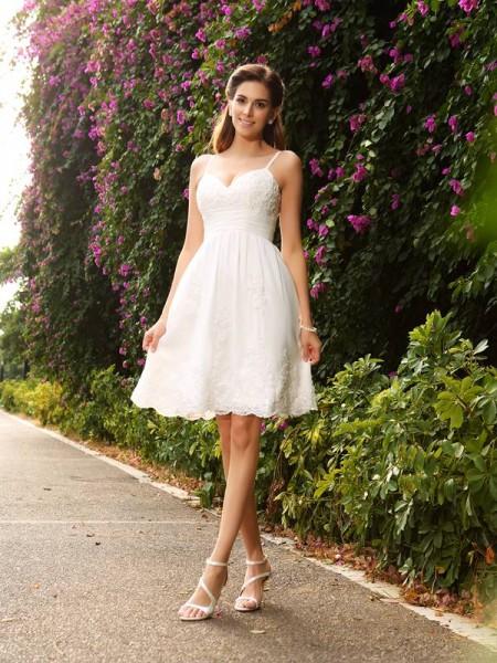 Princesa/Formato A Alças Finas Appliques Sem Mangas Curtos Renda Vestidos de Noiva