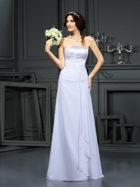 Bainha/Coluna Sem Alça Missangas Sem Mangas Longa Chiffon Vestidos de Noiva