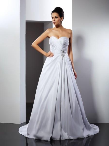 Princesa/Formato A Coração Folhos Sem Mangas Cauda Média Longa Cetim Vestidos de Noiva