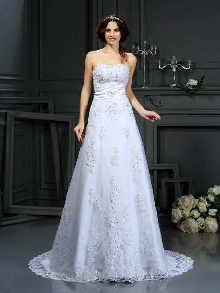 Princesa/Formato A Sem Alça Appliques Sem Mangas Longa Cetim Vestidos de Noiva
