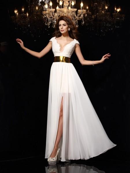 Princesa/Formato A Decote em V Renda Sem Mangas Longa Chiffon Vestidos
