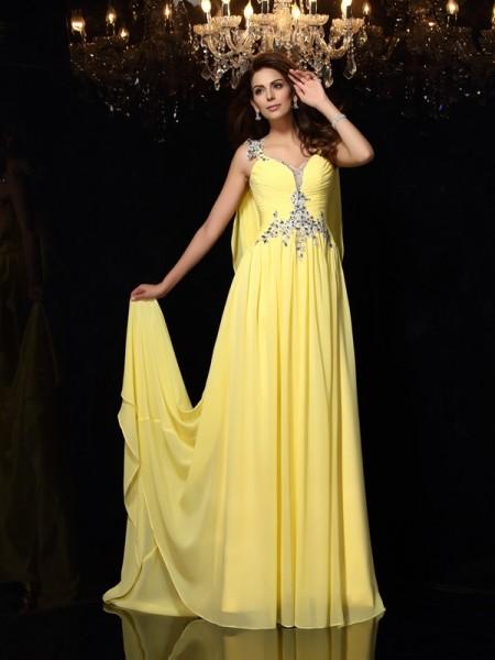 Princesa/Formato A Alças Missangas Sem Mangas Longa Chiffon Vestidos