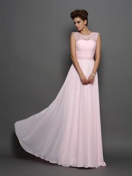 Princesa/Formato A Decote e costas em U Missangas Sem Mangas Longa Chiffon Vestidos