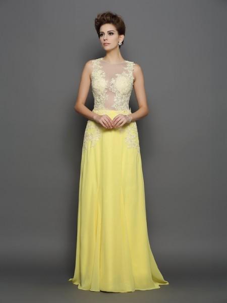 Princesa/Formato A Decote e costas em U Renda Sem Mangas Longa Chiffon Vestidos