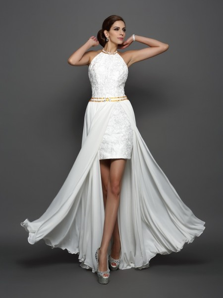 Princesa/Formato A Com gola alta Renda Sem Mangas Longa Chiffon Vestidos de Noiva