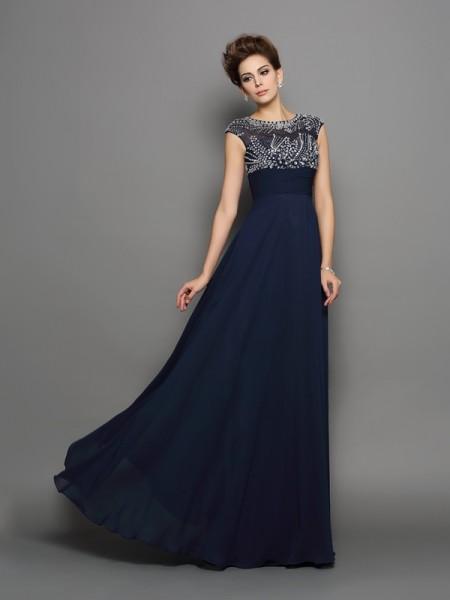Princesa/Formato A Decote e costas em U Missangas Manga Curta Longa Chiffon Vestidos