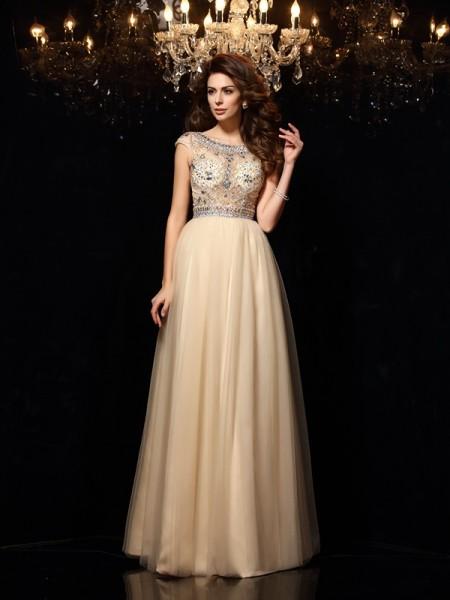 Princesa/Formato A Decote e costas em U Missangas Sem Mangas Longa Malha Vestidos