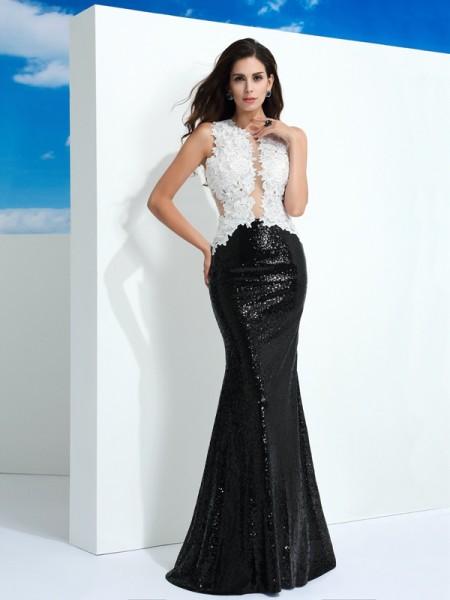 Bainha/Coluna Decote e costas em U Lantejoula Sem Mangas Longa Renda Vestidos