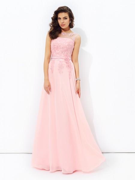 Princesa/Formato A Decote e costas em U Appliques Sem Mangas Longa Chiffon Vestidos