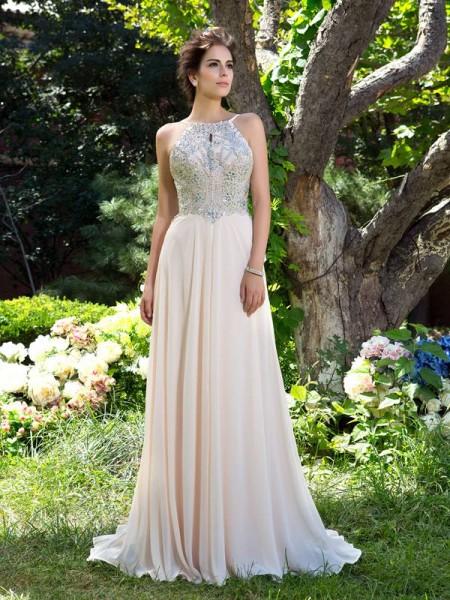 Princesa/Formato A Alças Finas Missangas Sem Mangas Longa Chiffon Vestidos