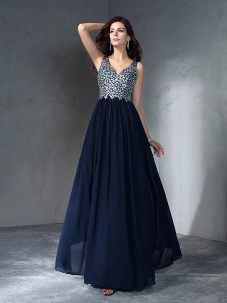 Princesa/Formato A Decote em V Missangas Sem Mangas Longa Chiffon Vestidos