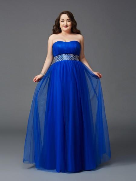 Princesa/Formato A Sem Alça Imitação de Diamante Sem Mangas Longa Malha Vestidos Festa Tamanhos Grandes