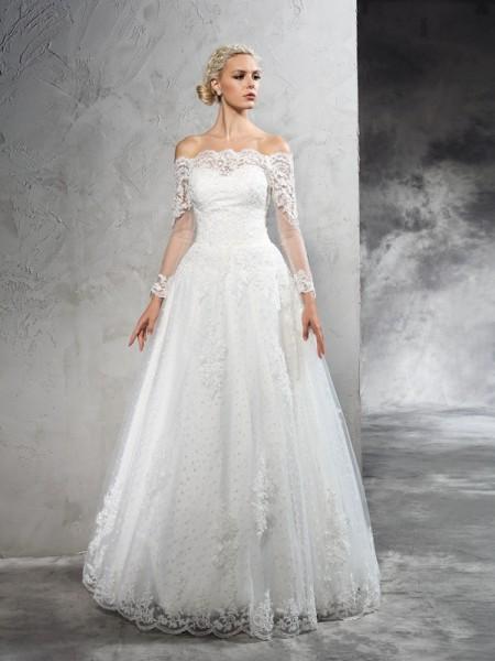 De Baile Ombro a Ombro Renda Manga Comprida Longa Malha Vestidos de Noiva