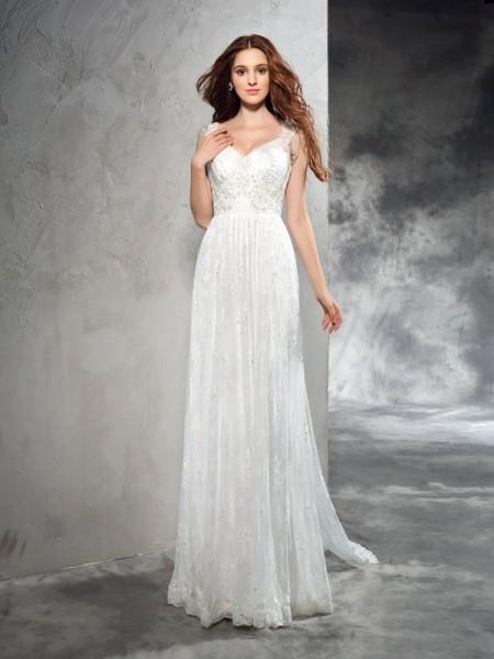 Princesa/Formato A Alças Renda Sem Mangas Longa Renda Vestidos de Noiva