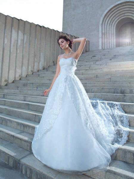 De Baile Coração Renda Sem Mangas Longa Renda Vestidos de Noiva