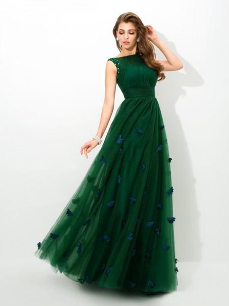Princesa/Formato A Sheer Neck Missangas Sem Mangas Longa Malha Vestidos