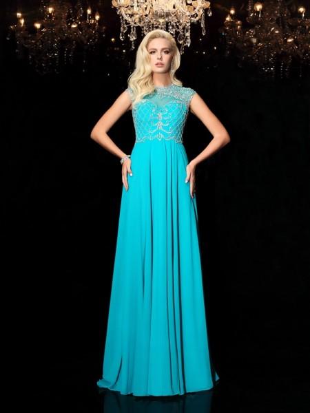 Princesa/Formato A Decote Vermelhoondo Renda Manga Curta Longa Chiffon Vestidos