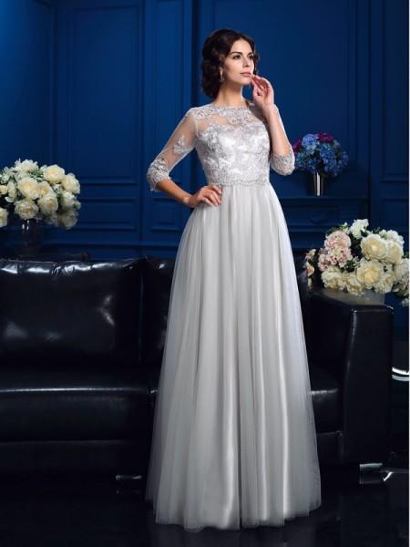 Princesa/Formato A Decote e costas em U Appliques Luva de Comprimento de 3/4 Longa Cetim Esticado Vestidos Mãe da Noiva