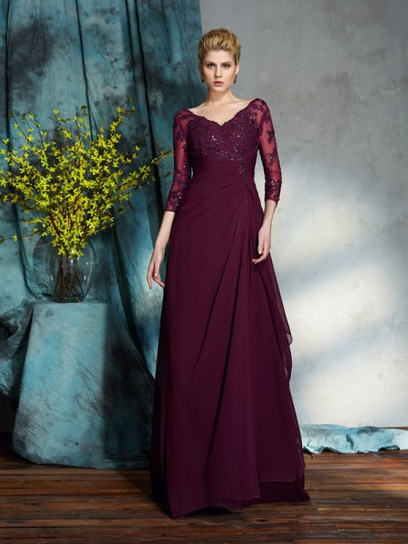 Princesa/Formato A Decote em V Missangas Luva de Comprimento de 3/4 Longa Chiffon Vestidos Mãe da Noiva