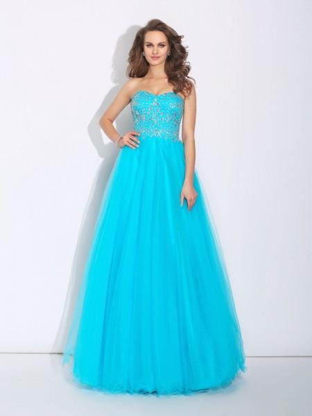 Princesa/Formato A Coração Imitação de Diamante Sem Mangas Longa Cetim Vestidos