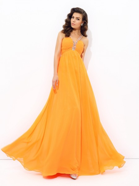 Princesa/Formato A Decote em V Imitação de Diamante Sem Mangas Longa Chiffon Vestidos