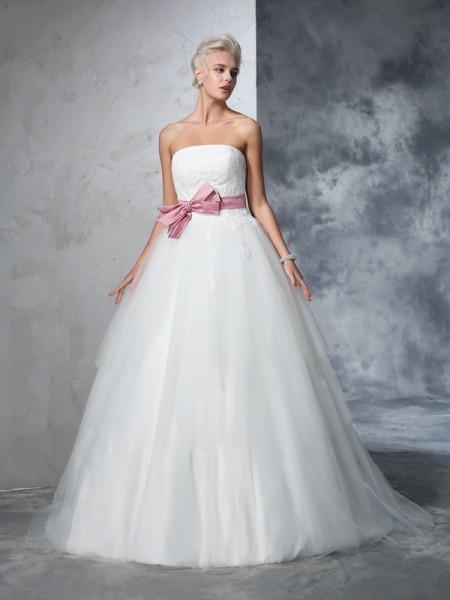De Baile Sem Alça Laço Sem Mangas Longa Malha Vestidos de Noiva